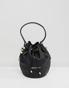 Небольшая сумка с золотистыми заклепками Versace Jeans - Черный