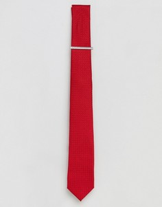 Красный фактурный галстук с зажимом Burton Menswear - Красный