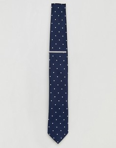 Темно-синий галстук в горошек с зажимом Burton Menswear - Темно-синий
