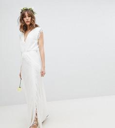 Платье макси с цветочным принтом и бахромой Stevie May - Белый