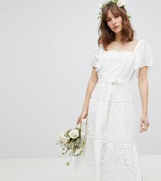 Эксклюзивное свободное платье миди с цветочной вышивкой Stevie May - Белый
