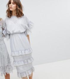 Эксклюзивное платье миди с ажурной отделкой Stevie May - Синий