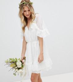 Платье мини с вышивкой и узором в горошек Stevie May - Белый