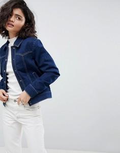 Джинсовая куртка цвета индиго в стиле вестерн ASOS - Синий