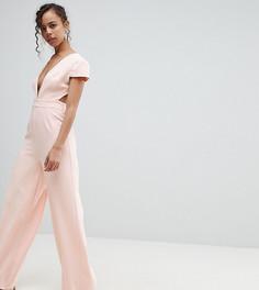 Комбинезон с глубоким вырезом, широкими штанинами и открытой спиной ASOS PETITE - Розовый