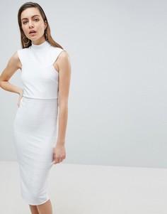 Облегающее платье миди с высокой горловиной ASOS - Белый
