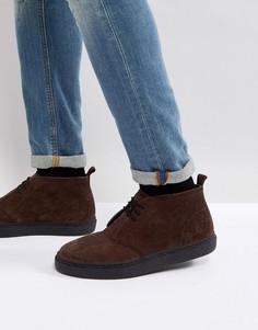 Замшевые темно-коричневые ботинки Fred Perry Hawley - Коричневый