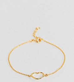 Позолоченный серебряный браслет-цепочка с сердечком ASOS - Золотой