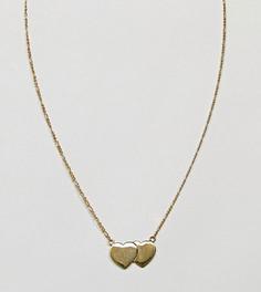 Ожерелье из позолоченного серебра с двумя сердечками ASOS - Золотой