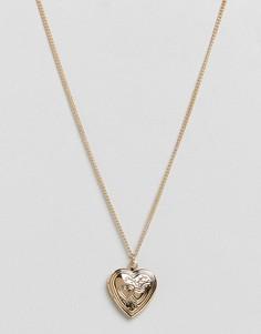 Ожерелье с подвеской-медальоном ASOS - Золотой