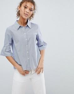 Рубашка в полоску с расклешенными рукавами длиной 3/4 Maison Scotch - Синий