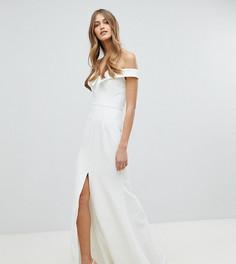 Платье макси с широким вырезом и разрезом до бедра Jarlo - Белый