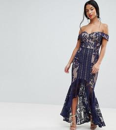 Кружевное платье макси с открытыми плечами Jarlo Petite - Темно-синий