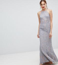 Кружевное платье макси с высоким воротом Jarlo Tall - Серый