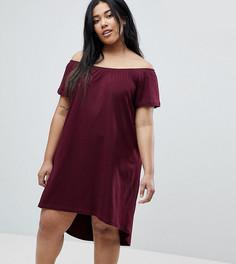 Платье с открытыми плечами и асимметричным краем ASOS CURVE - Красный