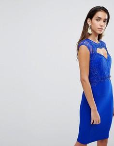 Облегающее платье с кружевом и вырезом сердечком Lipsy - Синий
