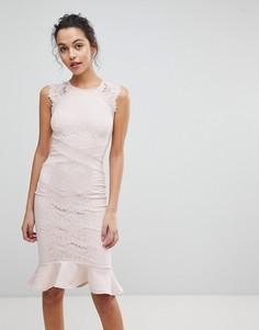 Платье-футляр с кружевной вставкой Lipsy - Розовый