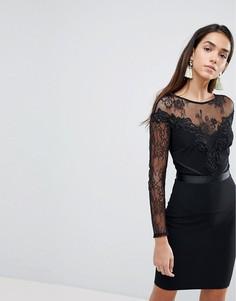 Облегающее платье с кружевными рукавами и бархатной отделкой Lipsy - Черный