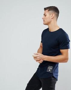 Длинная футболка с фирменной нашивкой Jack & Jones Core - Темно-синий