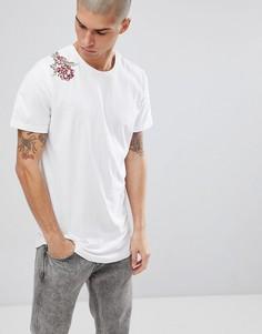 Длинная футболка с вышивкой Jack & Jones Originals - Белый