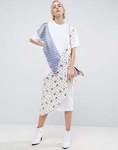 Трикотажное оверсайз-платье ASOS WHITE - Белый