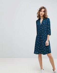 Платье с принтом и поясом Selected - Мульти