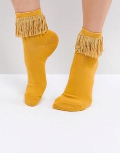 Носки горчичного цвета с кисточками ASOS - Желтый