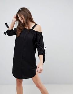 Пляжное платье-рубашка с открытыми плечами Monki - Черный