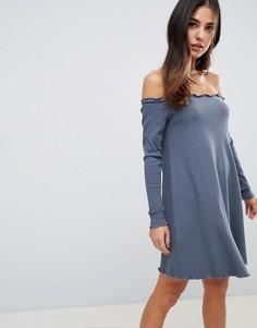 Платье мини в рубчик ASOS - Серый