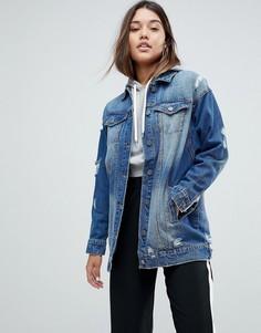 Потертая джинсовая куртка Noisy May - Синий