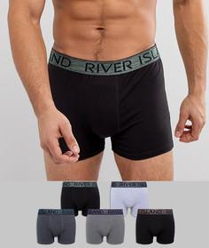 Набор из 5 боксеров-брифов с отделкой металлик River Island - Черный