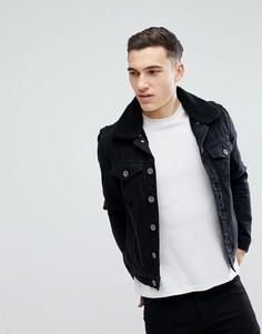 Черная выбеленная джинсовая куртка с подкладкой из искусственного меха River Island - Черный