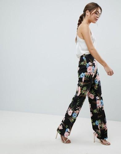 Брюки с широкими штанинами и цветочным принтом Boohoo Premium - Мульти