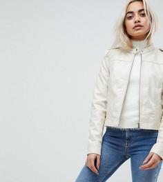 Байкерская куртка из искусственной кожи Vero Moda Petite - Бежевый