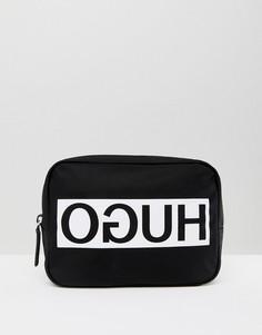 Черный нейлоновый несессер с перевернутым логотипом HUGO - Черный