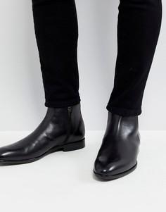 Черные кожаные ботинки на молнии HUGO - Черный