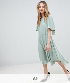 Струящееся платье миди в золотистый горошек Y.A.S Tall - Зеленый