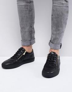 Черные кожаные кроссовки с молниями HUGO Futurism - Бежевый