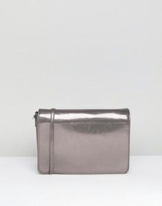 Сумка через плечо цвета металлик Pieces - Серый