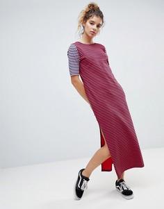 Платье-футболка макси в полоску с глубоким вырезом на спине ASOS - Мульти