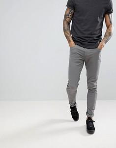 Серые саржевые брюки слим Farah Drake - Серый