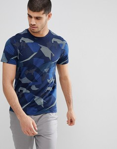 Темно-синяя футболка узкого кроя с принтом Farah Northenden - Темно-синий