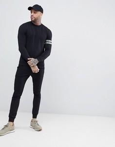 Черные облегающие джоггеры и облегающий свитшот с камуфляжными полосами ASOS - Черный