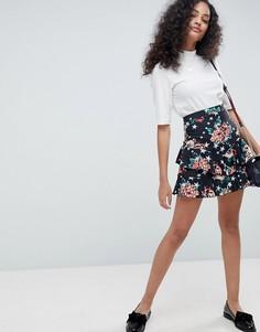 Мини-юбка с цветочным принтом ASOS - Мульти