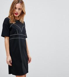 Платье-футболка с контрастными строчками ASOS PETITE - Черный