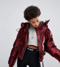 Блестящая дутая куртка бордового цвета Ivy Park - Красный