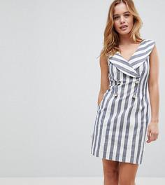 Платье-смокинг мини в полоску ASOS PETITE - Мульти