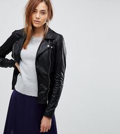 Кожаная байкерская куртка Y.A.S Tall - Черный