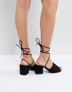 c637435bf8fb Босоножки на блочном каблуке Public Desire Paddington - Черный