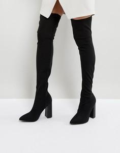 Черные ботфорты на блочном каблуке Public Desire Nebraska - Черный
